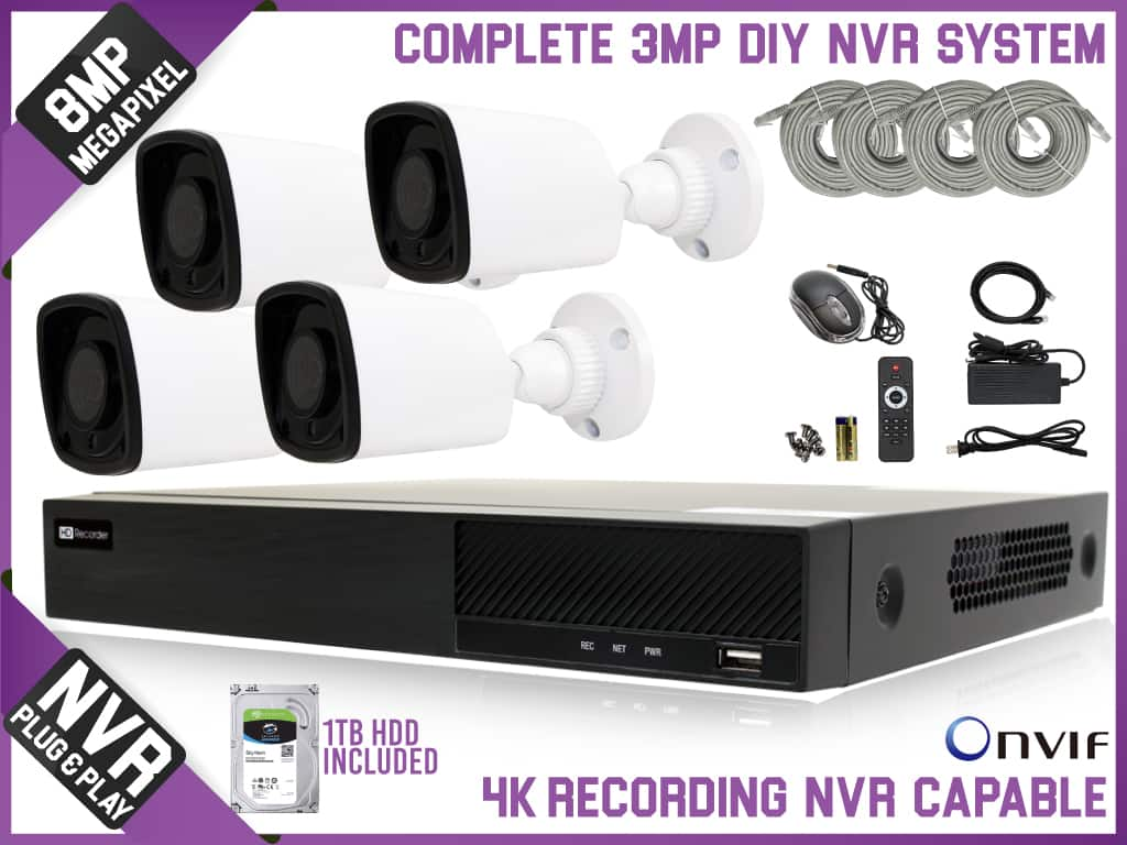 3 MegaPixel DIY  Complete Surveillance NVR System 1TB HDD FREE SHIPPING 3 Years Warranty. $529
