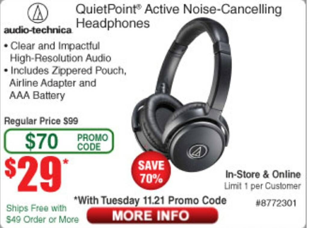 Audio-Technica ATH-ANC50iS QuietPoint Active Noise-Cancelling Headphones $29