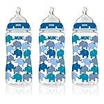 59% off NUK Fashion Orthodontic Bottle, Blue Elephants, Boy, 10 Ounce, 3-Count for $8.19