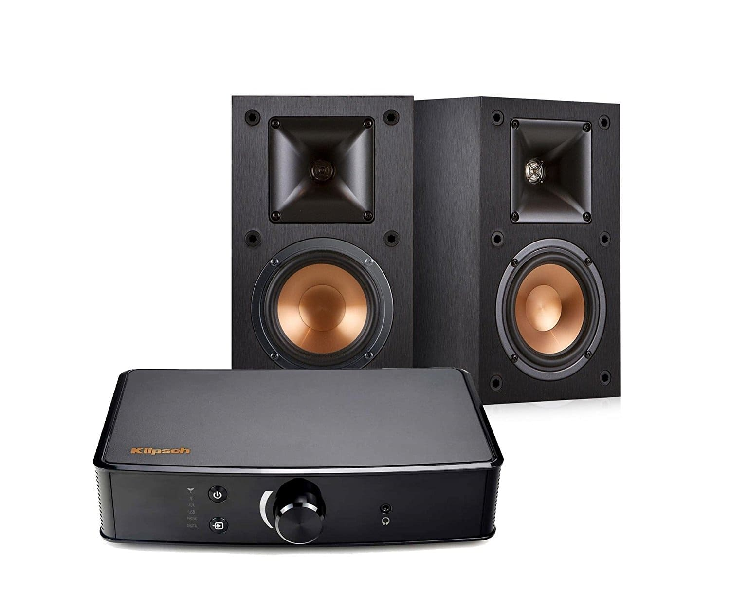 Klipsch R-14M Bookshelf Speakers and Powergate Amplifier Bundle, Black $359.99