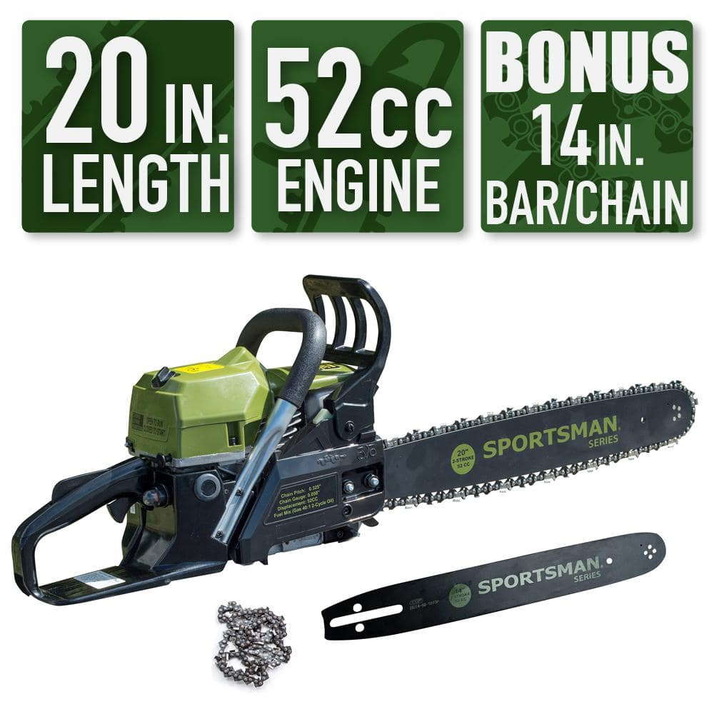 Home Depot has Sportsman 50% off 2-in-1 20 in. and 14 in. 52cc Gas Chainsaw Combo $119