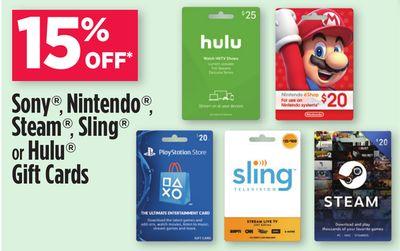 Dollar General In Store Select Gift Cards PSN Nintendo Hulu