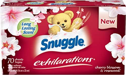 70-Ct Snuggle Exhilarations Fabric Softener Dryer Sheets (Cherry Blossom and Rosewood) - $2.25 Free Ship Amazon S&S