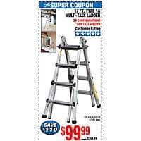 17 Ft Multi Task Ladder 99 At Harbor Freight With Coupon