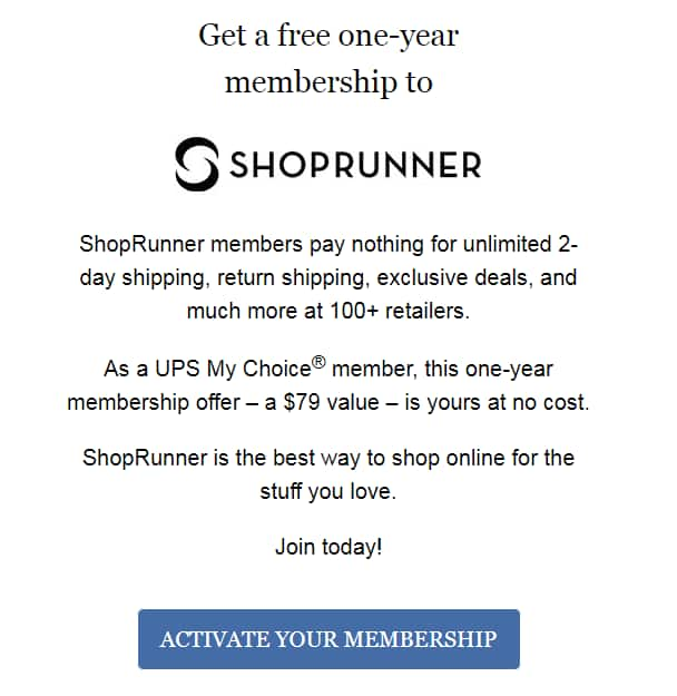 Free One Year Membership To Shoprunner For New Members Only Ymmv