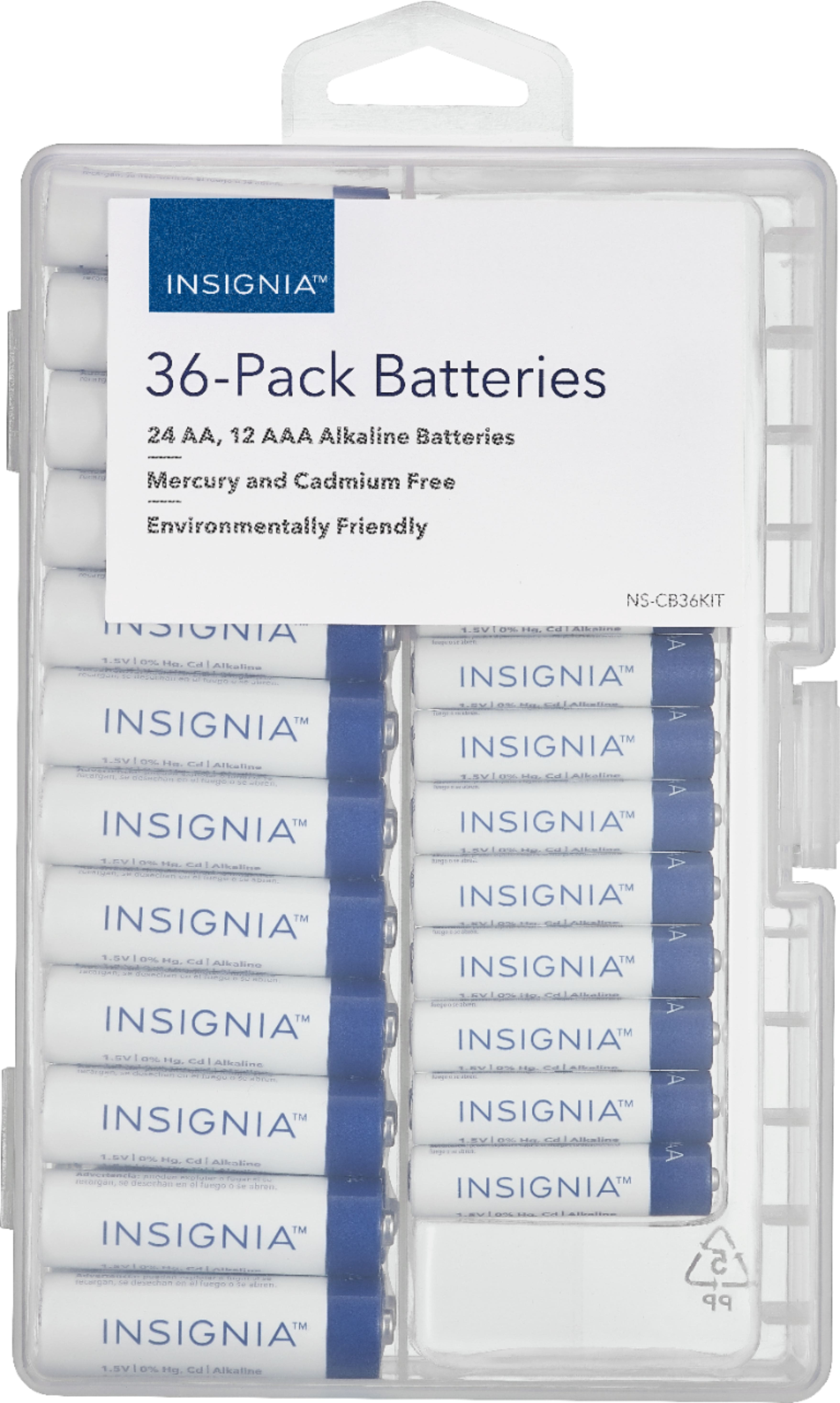 36-Pack Insignia Alkaline Batteries w/ Case (24-Count AA + 12-Count AAA) $6.80 + Free Store Pickup