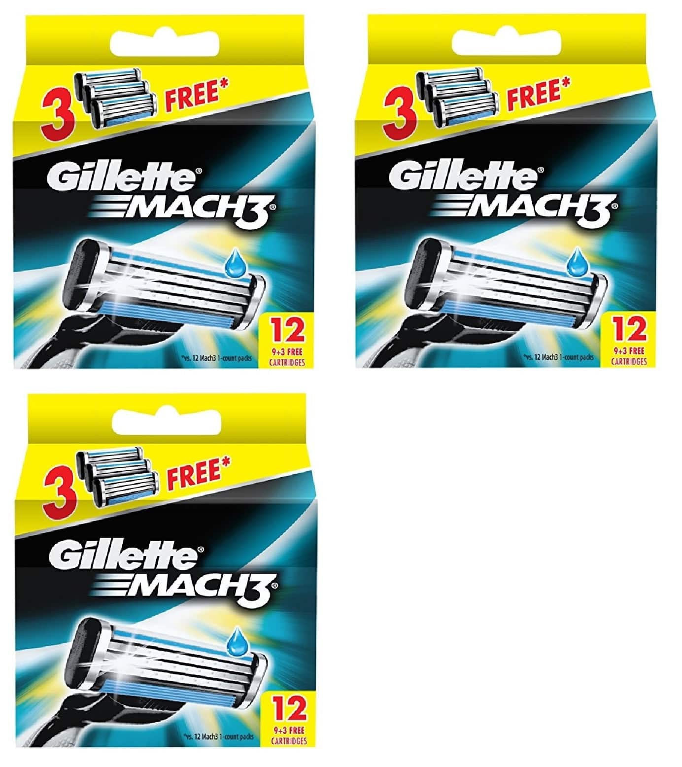 3-Pack of 12-Count Gillette Mach3 Refill Razor Blade Cartridges $26.91