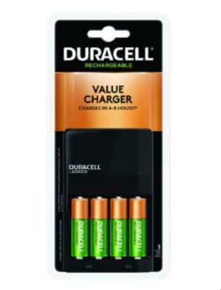 4-Count Duracell AA NiMH Batteries w/ Ion Speed 1000 NiMH Charger