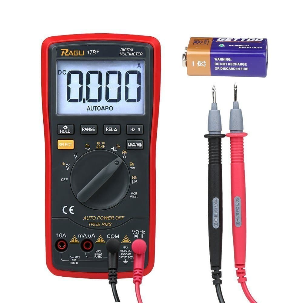 Amazon Lightning Deal RAGU 17B Digital Multimeter 6000 Count Ohm Volt Amp Diode Continuity Test, Backlit LCD Display, Auto-Ranging Electronic Measuring Instrument Tester $4.99 AC