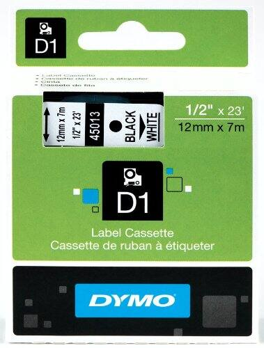 "DYMO D1 Labeling Tape, ½"" x 23', Black Print on White Tape (45013) for $4.99 at Amazon.com Subscribe & Save"