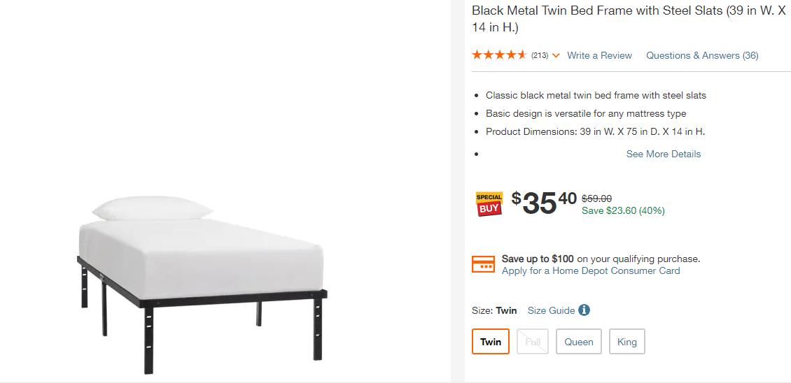 Black Metal Twin Bed Frame-Basic $35.4