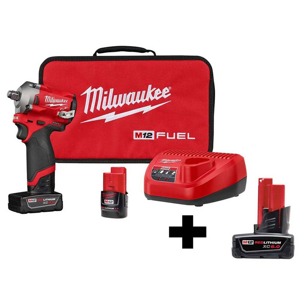M12 FUEL 12-Volt Lithium-Ion Brushless Cordless Stubby 1/2 in. Impact Wrench Kit with Free 6.0Ah Battery $269