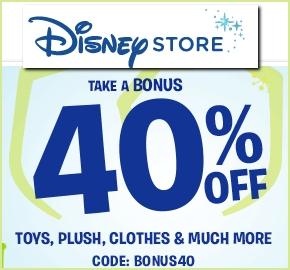 Disney Store bonus 40% off lowest price!