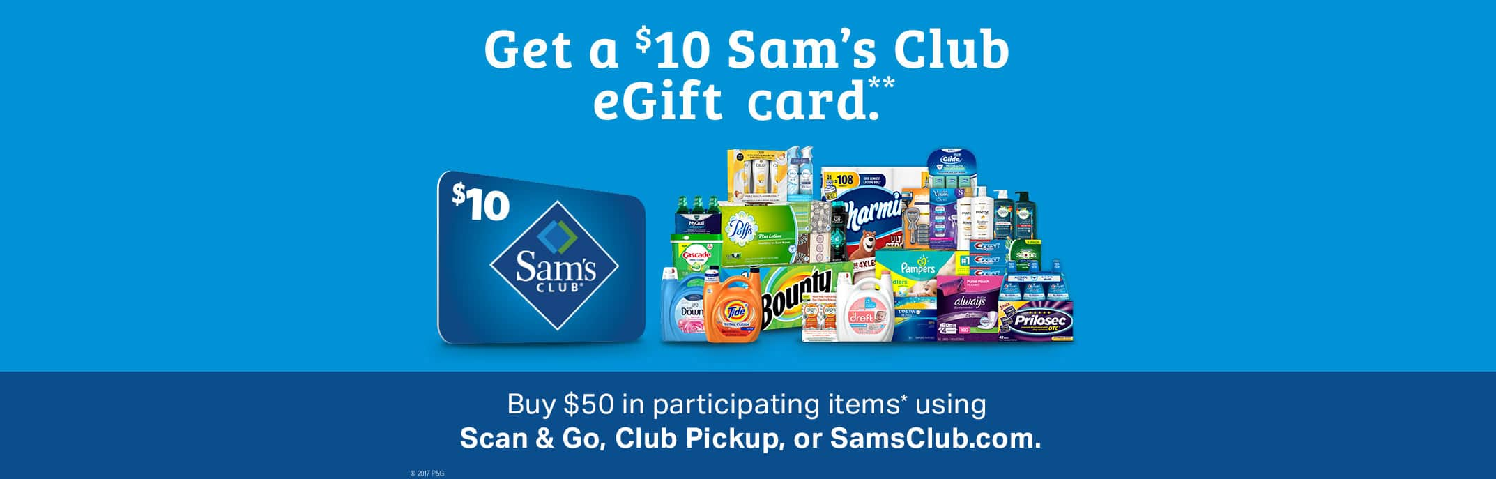Sam's Club - Buy $50 in participating items get $10 eGift Card