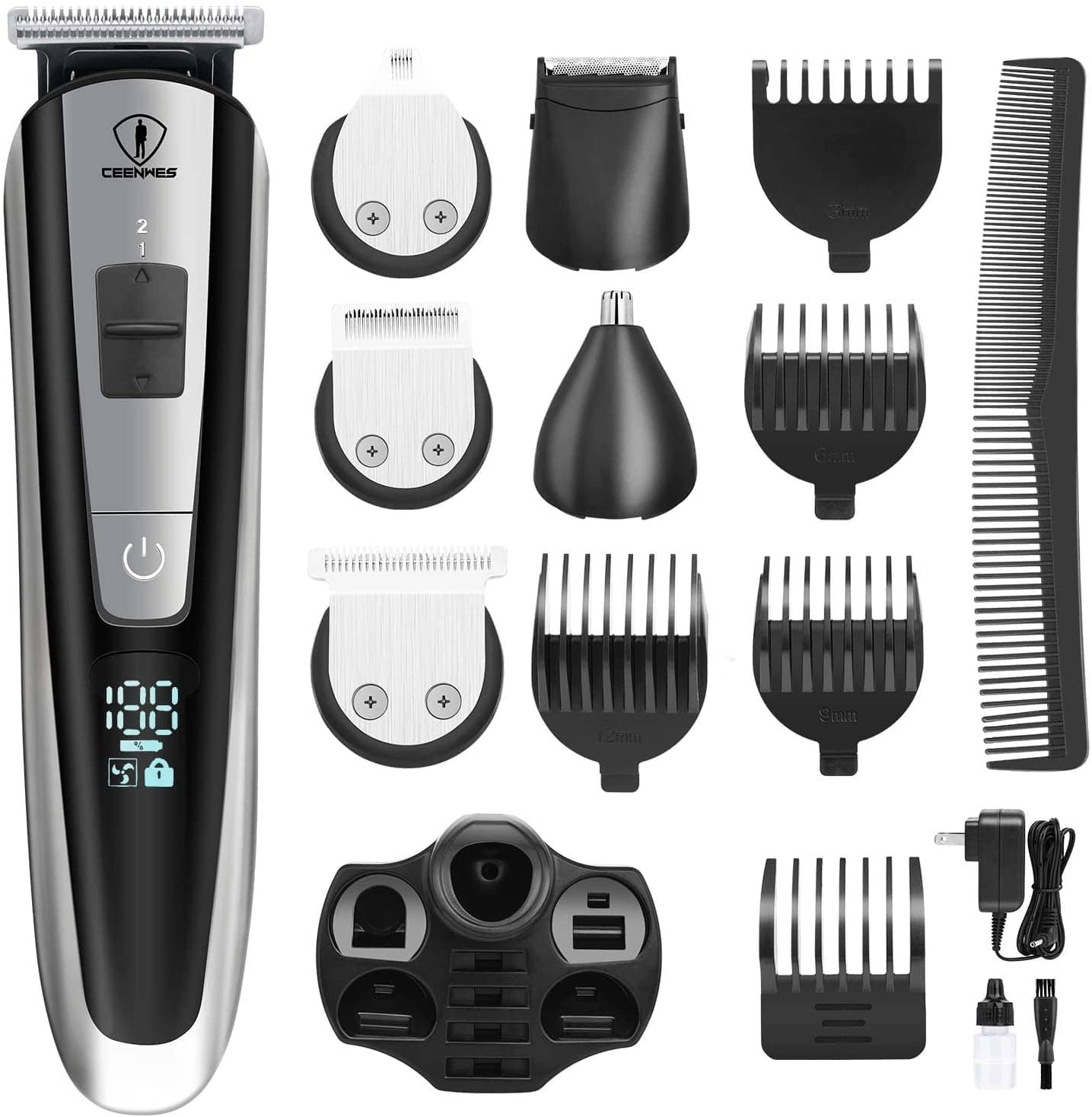 Ceenwes Men's Grooming Kit Professional Beard Trimmer Hair Clippers Hair Trimmer Hair Design Trimmer Mustache Trimmer Body Groomer/Nose Ear Trimmer for Facial Body Hairs $11.98 FS