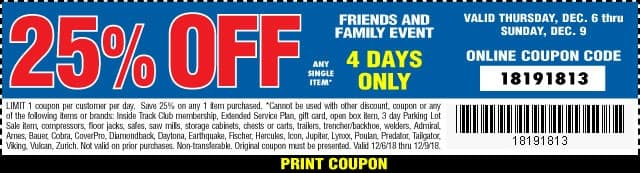 Harbor Freight Friends and Family 25% off coupon 12/06-12/09