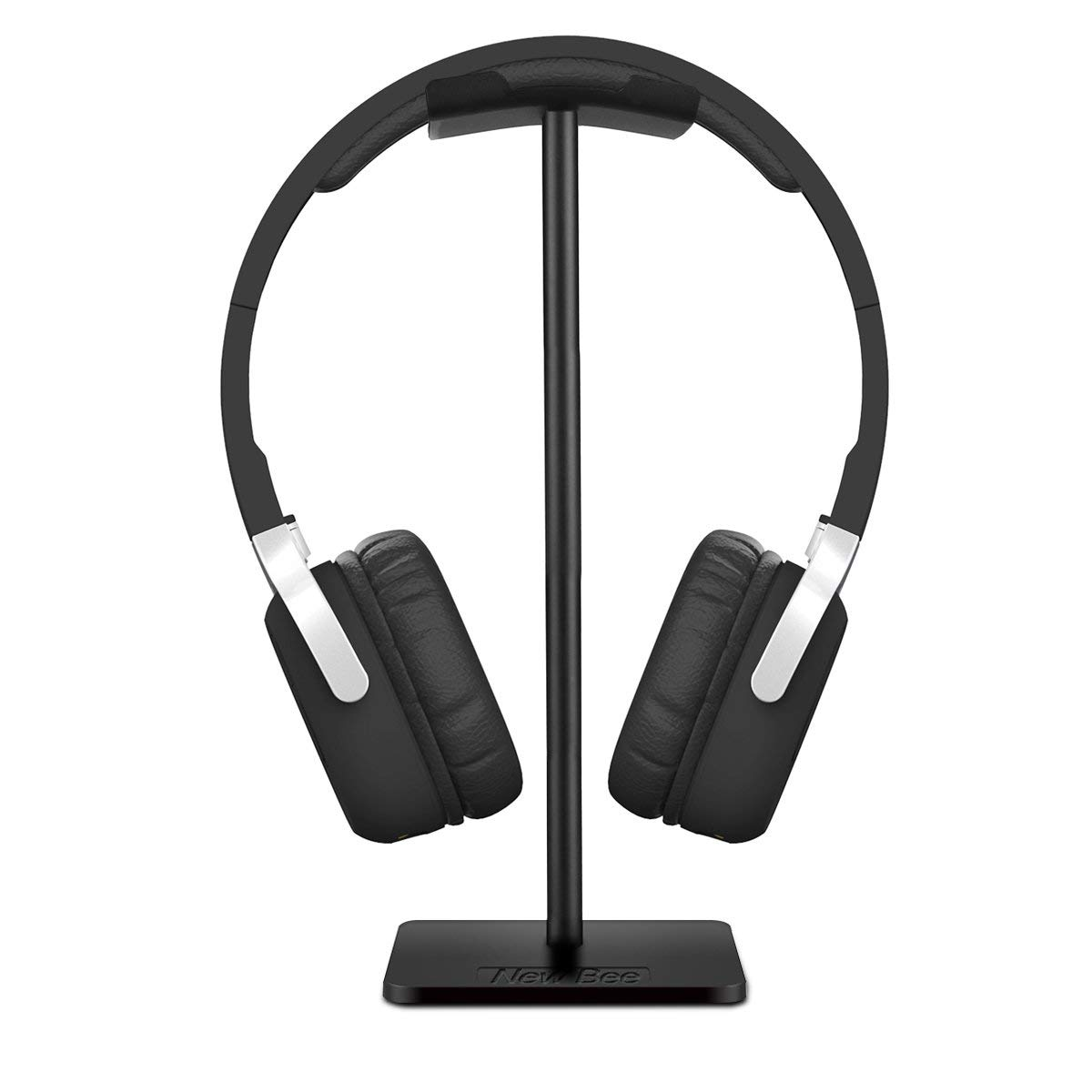 Headphone Stand Headset Holder New Bee Earphone Stand with Aluminum Supporting Bar Flexible Headrest ABS Solid Base for All Headphones Size (Black) $6.47