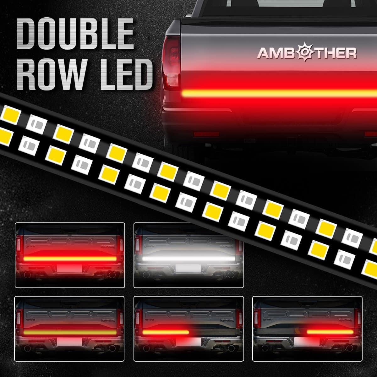 "AMBOTHER 60"" Truck Tailgate Light Bar Double Row LED Flexible Strip Running Turn Signal Brake Reverse Tail light $11.99"