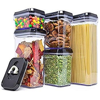 Royal Air-Tight Food Storage Container Set - 5-Piece Set - Durable Plastic - BPA Free - Clear Plastic with Black Lids - $24