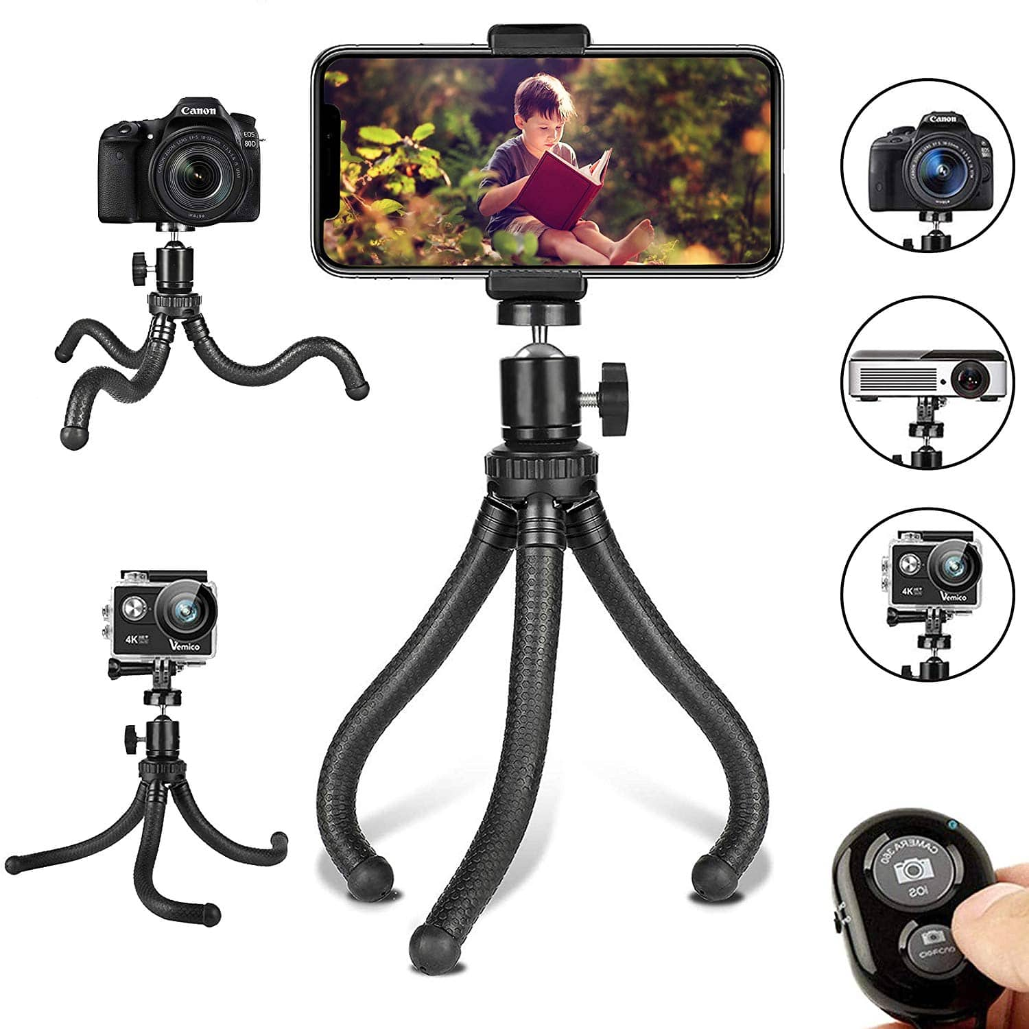 Flexible Cell Phone Tripod Adjustable with Wireless Remote and Universal Clip 360° Rotating - Amazon $7.94AC