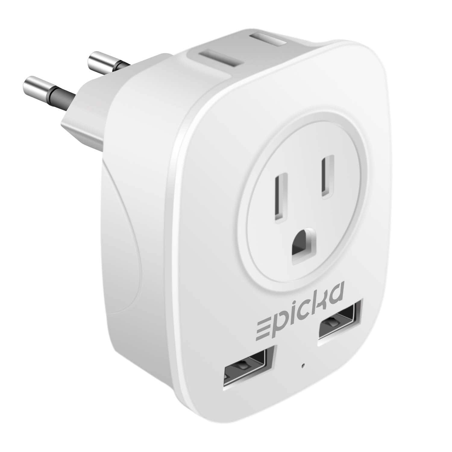 European Travel Plug Adapter - EPICKA Wall Charger Adapter with 2.4A Dual USB Charging Ports - Type C, Amazon - $4.99AC