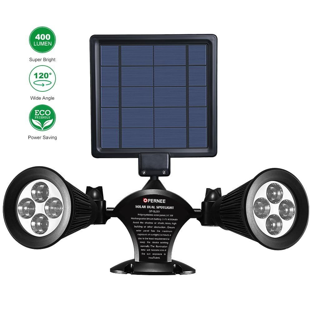 Waterproof Double Spotlight Wireless Solar Powered 360-Degree Rotatable Security Lamp on Amazon $23.79 AC w/ Free Prime Shipping