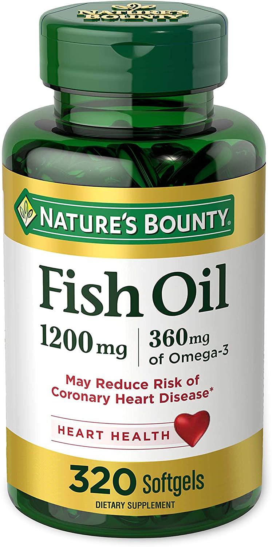 BOGO - Nature's Bounty Omega-3 Fish Oil, Heart Health, 1200 mg, 320 Rapid Release Softgels