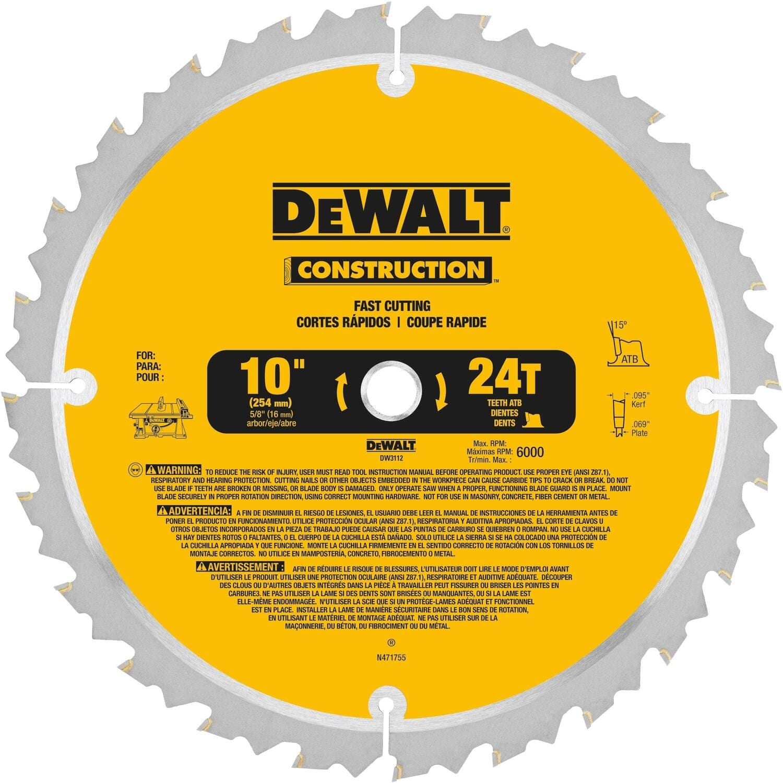 Dewalt 10 in. D X 5/8 in. S Carbide Circular Saw Blade 24 teeth 1 pk $9.99