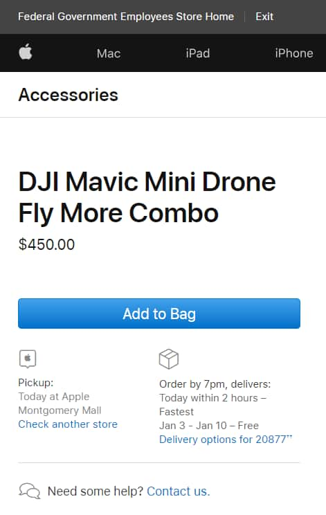 YMMV DJI Mavic Mini Fly More Combo $450. US Federal, State and Local Govt. employees only.