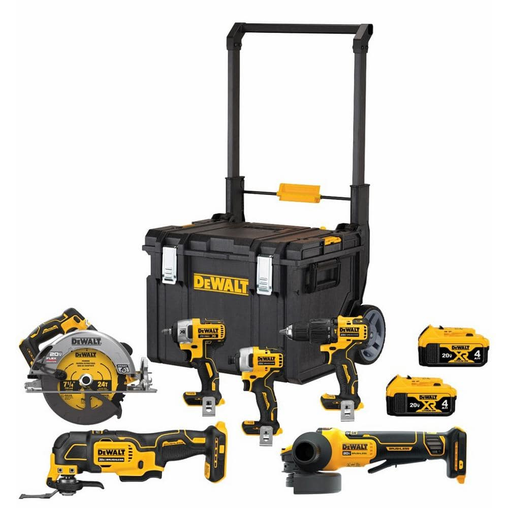 Home Depot DEWALT 20-Volt MAX Lithium-Ion Cordless Brushless Combo Kit (6-Tool) with ToughSystem, (2) 4.0Ah Batteries and Charger-DCKTS600M2 - The Home Depot