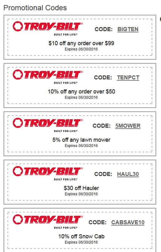 Troybilt.com sale 20% off + Stack Additional coupons(Glitch) + Shipping not free (Snow blower, Mower and many more items)