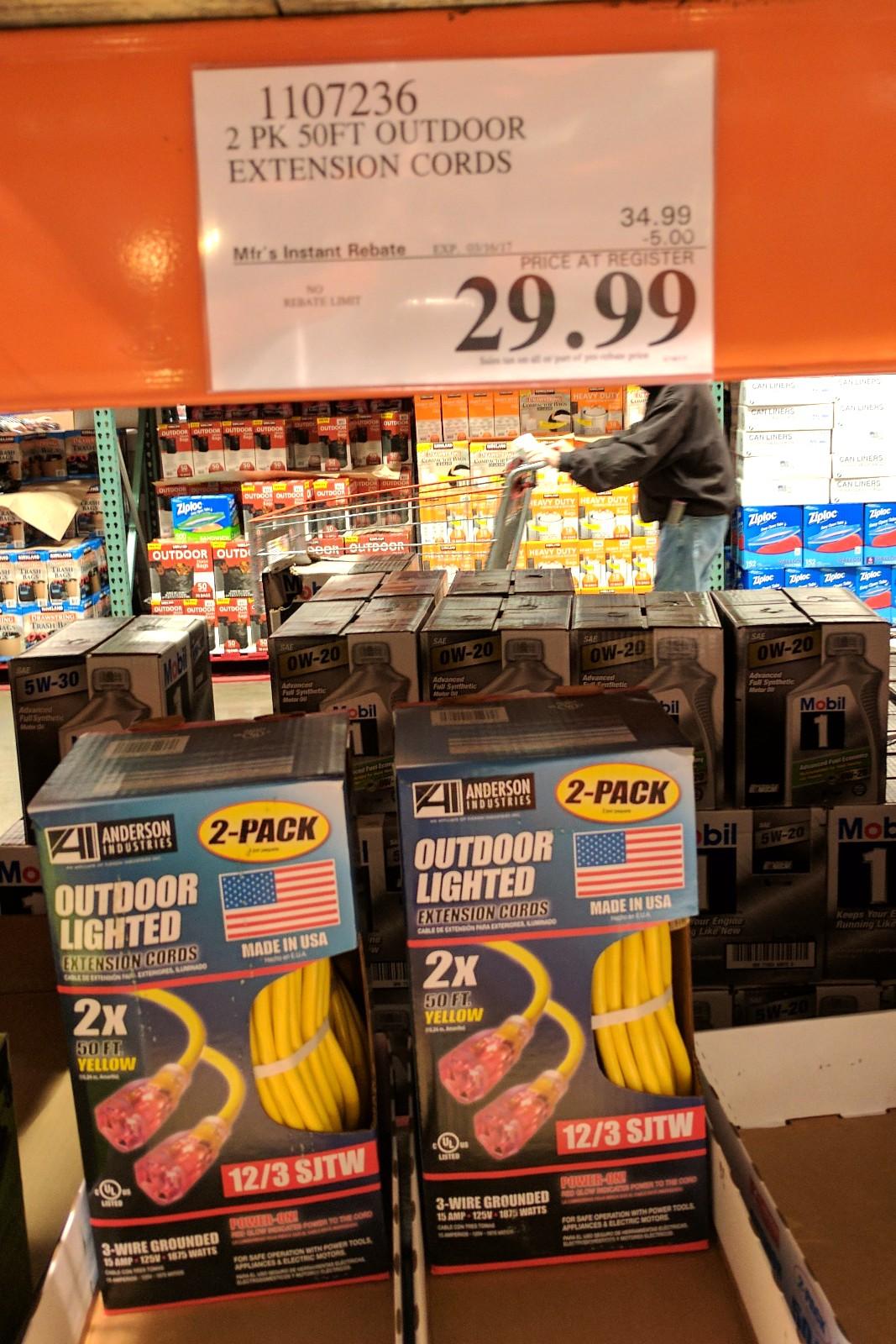 2 pack 50ft outdoor 12-gauge extension cord $29.99 - Costco