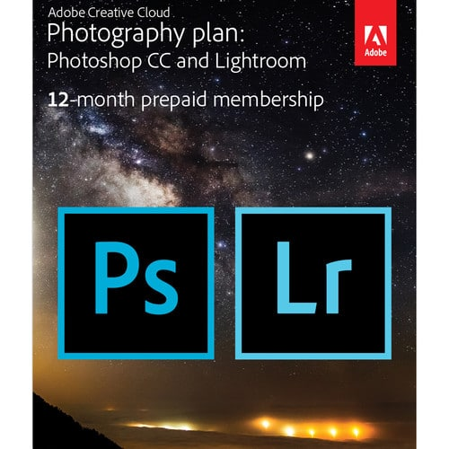 1-Year subscription Adobe Creative Cloud Photography Plan (Photoshop CC + Lightroom CC) (PC/MAC) (Download or Card) + $30 B&H E-gift card for $119.88