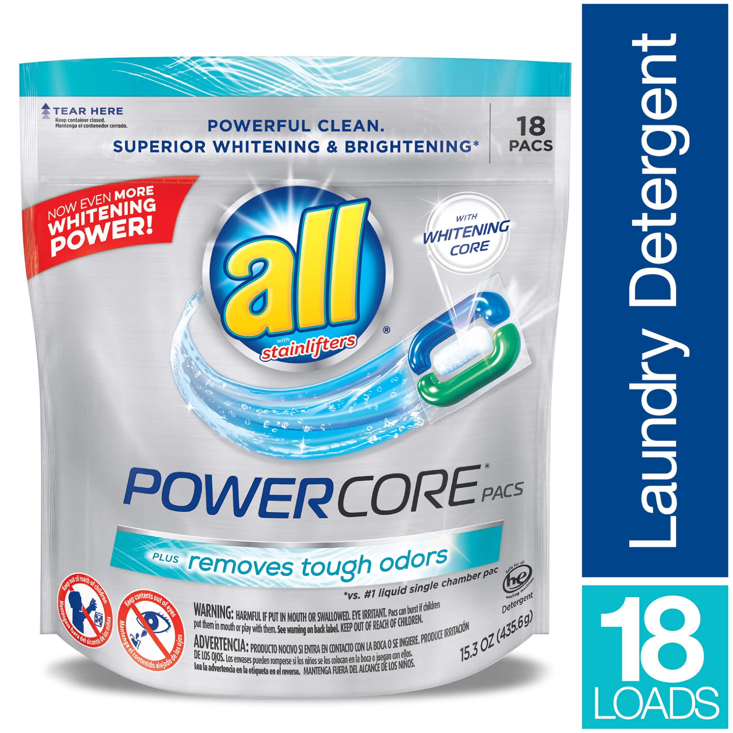 18-Ct All Powercore Pacs Laundry Detergent $2.99 + free shipping with prime $3.24