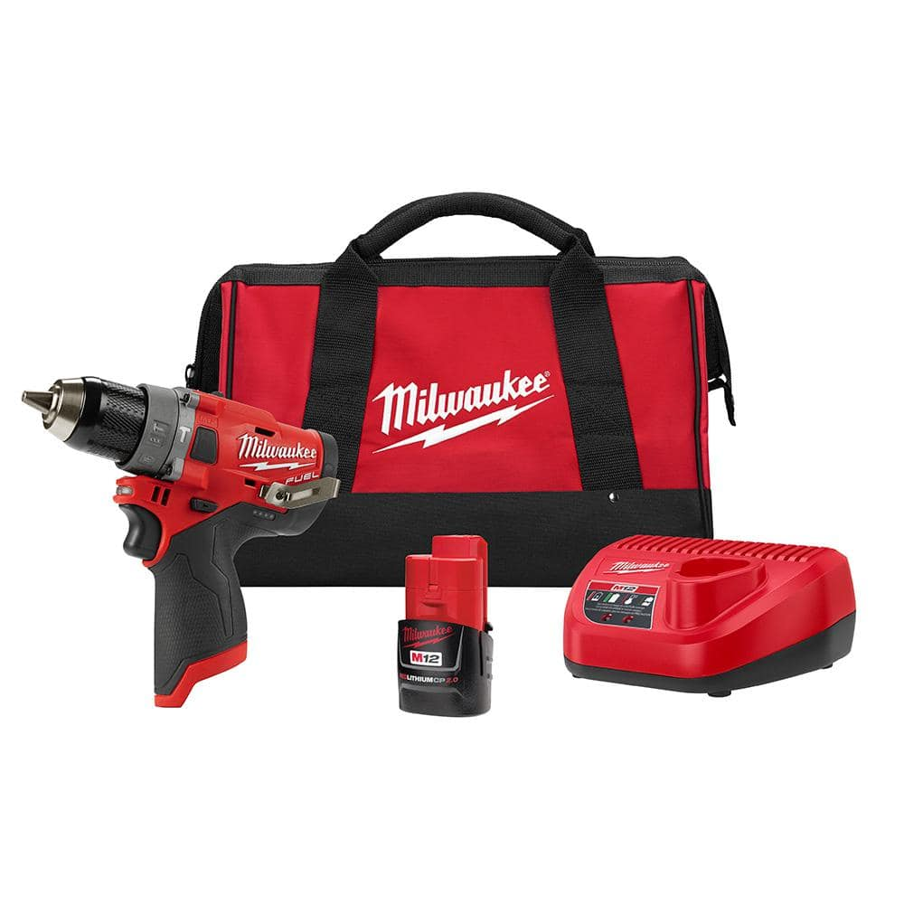 YMMV $89 - Milwaukee M12 FUEL 12-Volt Lithium-Ion Brushless Cordless 1/2 in. Hammer Drill Kit with 2.0 Ah Battery and Bag - Home Depot