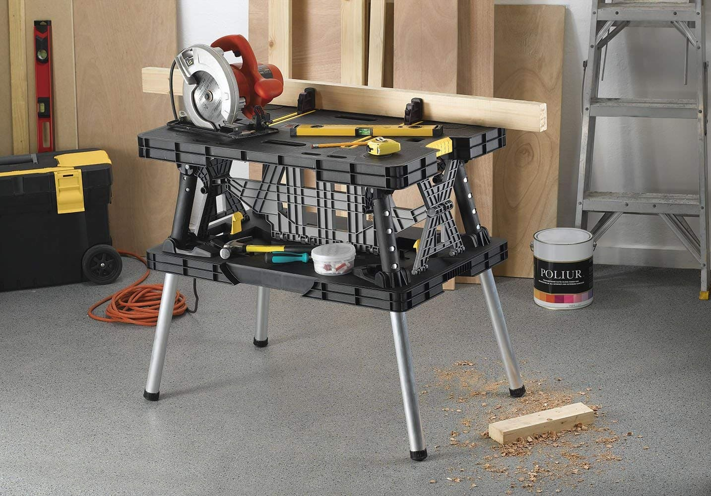 keter pro folding compact workbench sawhorse work table with clamps rh slickdeals net