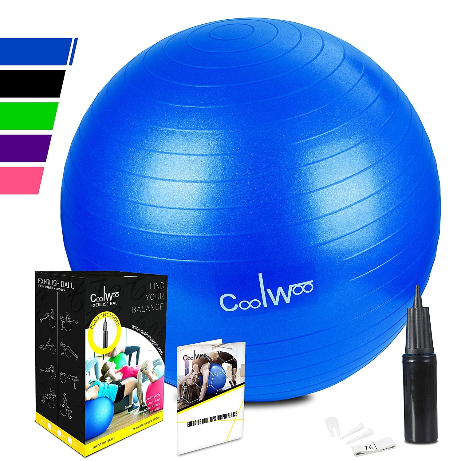 Anti Burst, Non Slip Exercise Ball, Yoga Stability Ball Chair with Hand Pump (65cm) for Balance, Pilates, Stretching & Core Strength Training $5.85