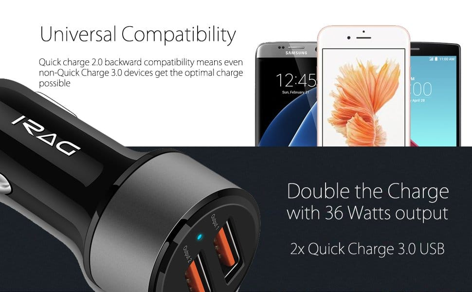 iRAG 36W Dual USB Quick Charge 3.0 Car Charger $6.74 with coupon code, Amazon, free shipping $6.74
