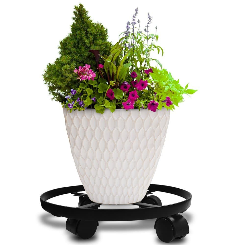 "14"" Round Metal Planted-Pot Caddy/Stand with Wheels/Casters/Rollers ($6.79 with FS, AC)"