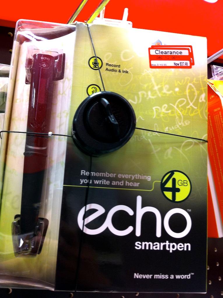 Target Livescribe Echo Smartpen 4 GB $37.48 and Pulse 2GB Smartpen $24.98 B&M Clearance