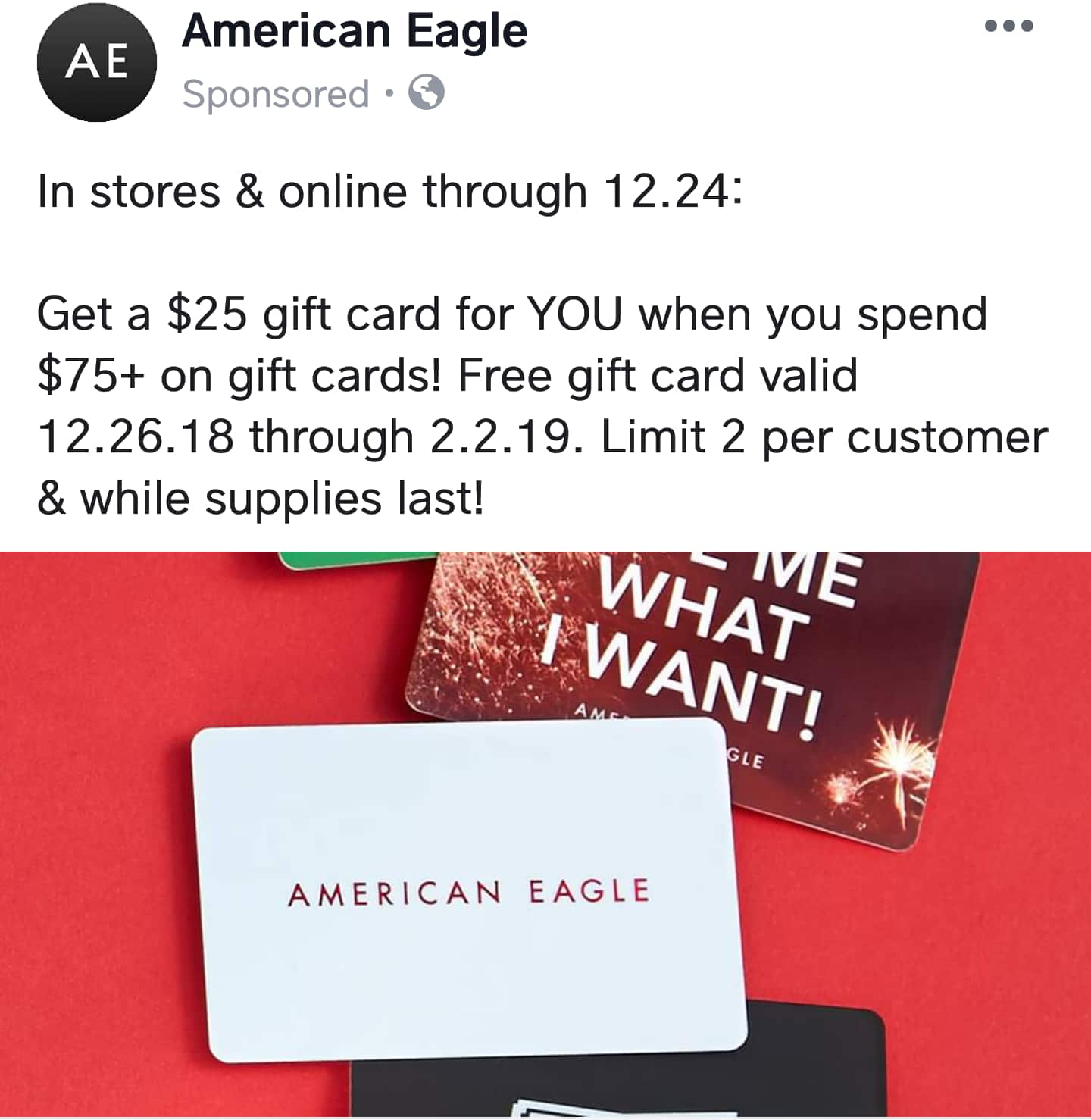 American Eagle Free 25 Gift Card With Purchase Of 75 Gift Card