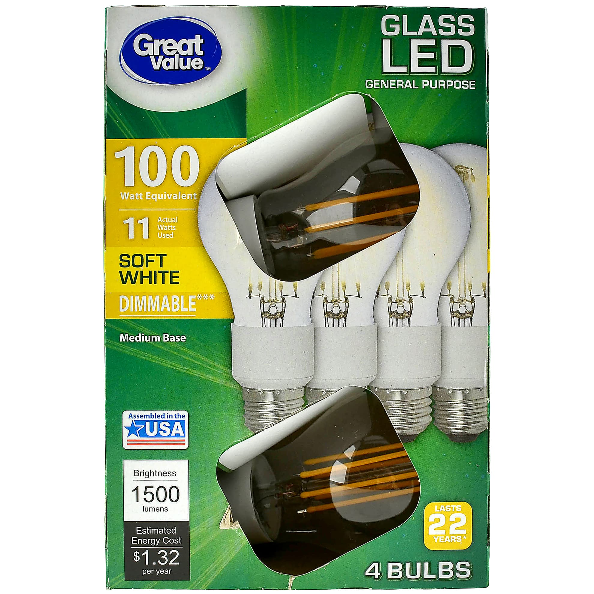 Great Value and GE 100W Equivalent A21 LED Light Bulbs, Edison Glass, Dimmable, Soft White, 4-Pack at Walmart Neighborhood Market $5