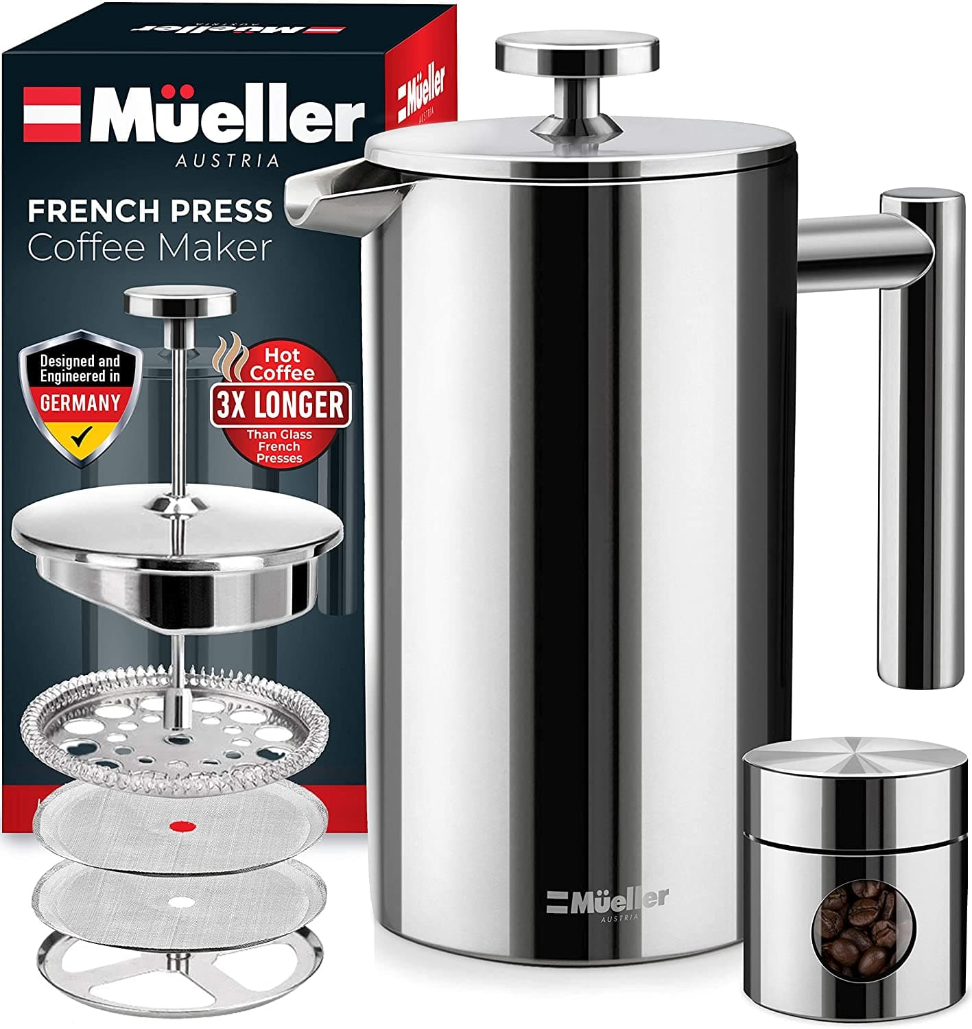 Amazon has Mueller French Press Heavier Duty Double Insulated 310 Stainless Steel Coffee Maker 4 Level Filtration% No Coffee Grounds Guarantee $18.97 after clip coupon