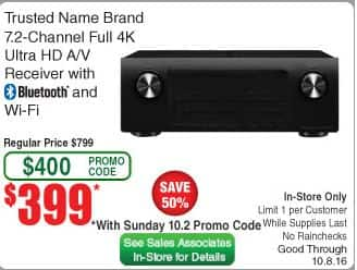 Denon AVR-x2300W 7.2 A/V receiver - $399 at Frys with Promocode B&M Only