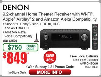 Denon x4500 9.2 receiver. $849 at Fry's with promo code. In Store Only