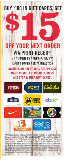 Stop&Shop-Buy $100 in Gift Cards( Lowes, Best Buy, Ebay, Nike,etc.)  get $15 coupon off next purchaseExp 6/19/17