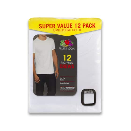 b714c827 12-pack Fruit of the Loom Mens White crew t-shirts $13.96 Walmart (in-stock  in L and XL)