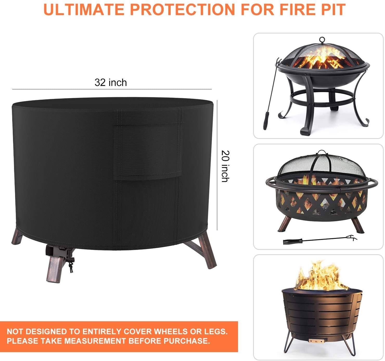 Deyard Round Fire Pit Cover 32 x 20 Inch | Square Fire Pit Cover 32 x 32 x 20 Inch for $7.02 + Free S/H for Prime