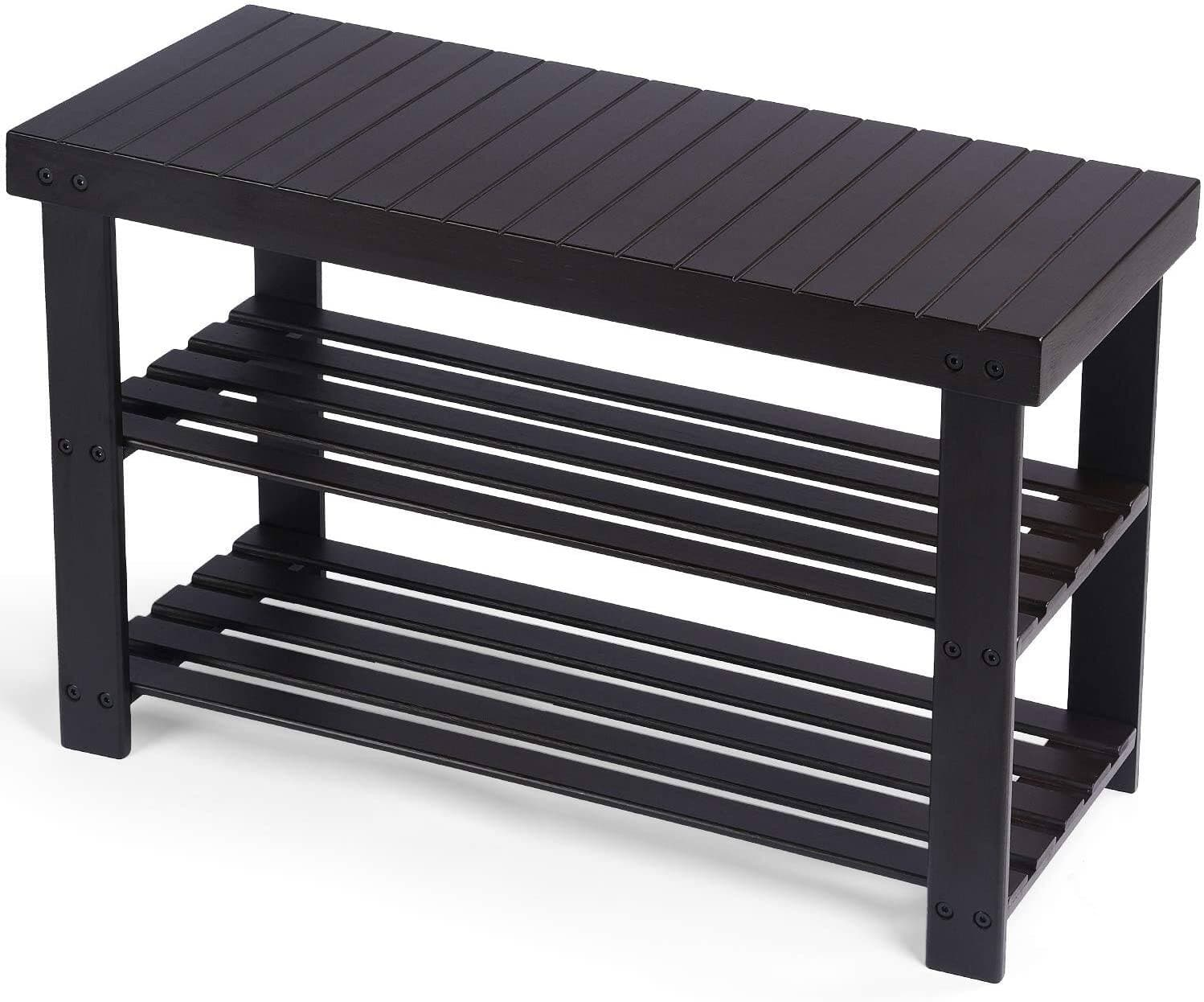 Comhoma 3-Tier Bamboo Bench/Shoe Rack Holds Up to 300 Lb, Brown for $25.19 + free shipping at Gtracing via Amazon