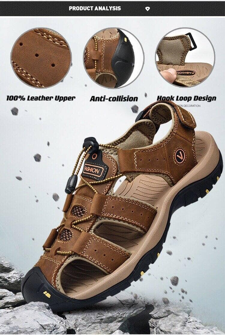 Anti-Collision Breathable Casual Leather Sandals for $22.59 + Free Shipping